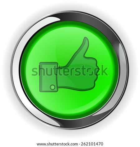 Thumb up button, green round shiny web icon   isolated on white background. Raster version - stock photo