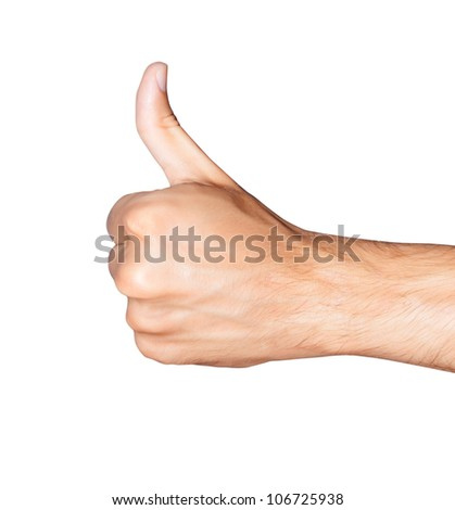Thumb up. Closeup of man's hand with thumb up expressing success - stock photo