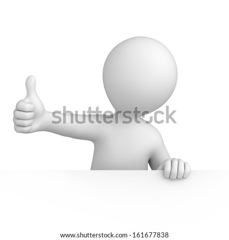 thumb up. 3d image with a work path - stock photo