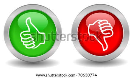 Thumb up down buttons - stock photo