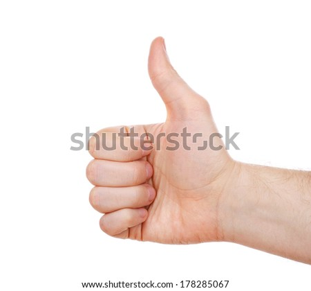 Thumb up hand isolated on white