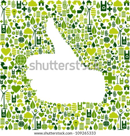 Thumb up hand over Go green icons texture background.