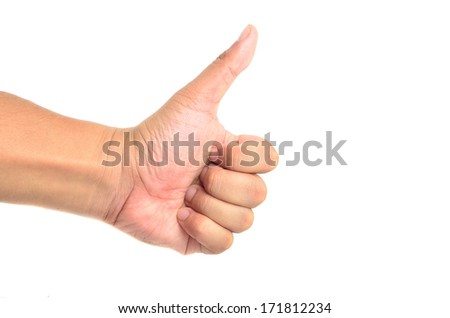 Thumb up hand signs isolated on white with a copy space - stock photo