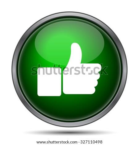 Thumb up icon. Internet button on white background.  - stock photo