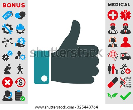 Thumb Up illustration icon. Style is bicolor flat symbol, soft blue colors, rounded angles, white background.