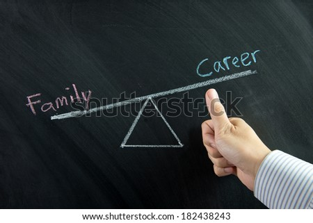 Thumb up in front of career and family balance drawn on chalkboard