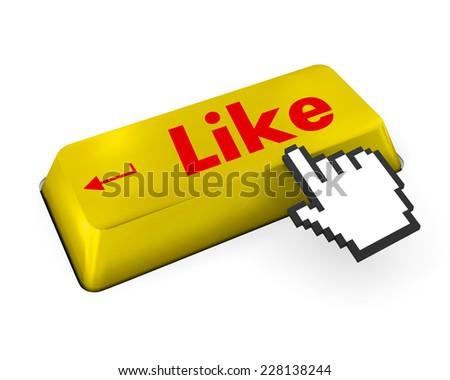 Thumb Up Like Button key - Stock Image , like, social media - stock photo
