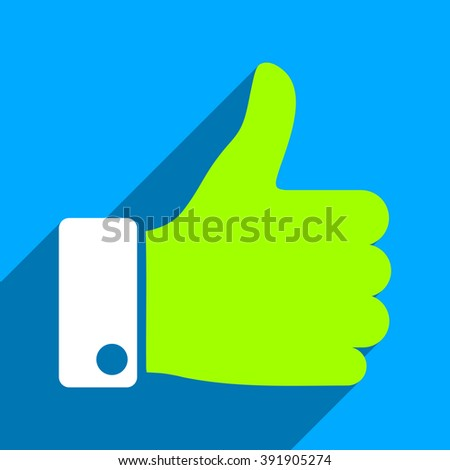 Thumb Up long shadow glyph icon. Style is a flat thumb up iconic symbol on a blue square background. - stock photo