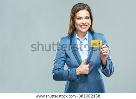 Thumb up show. Smiling business woman blue suit dressed show plastic credit card. Smiling model with long hair isolated portrait. - stock photo