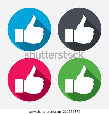 Thumb up sign. Hand finger up symbol. Circle buttons with long shadow. 4 icons set.