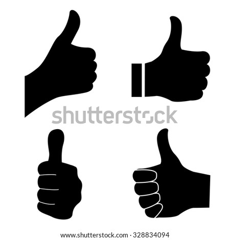 Thumb up silhouette isolated on white background - stock photo