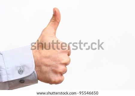 thumb up Success feeling/ thumb up - stock photo