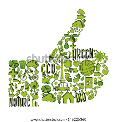 Thumb up with environmental hand drawn icons in green. - stock photo