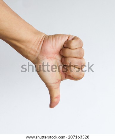 Thumbs down sign from a male hand