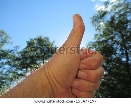 thumbs up and blue skies