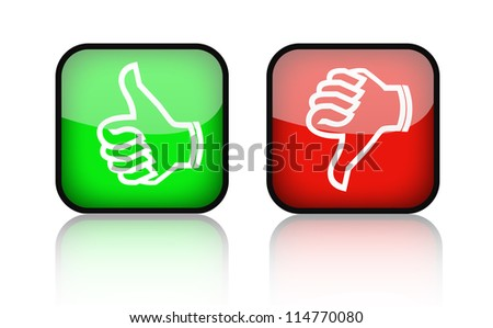 thumbs up and down buttons - stock photo