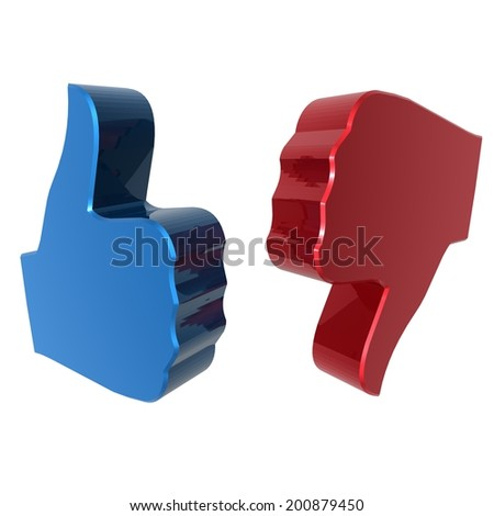 Thumbs up and down sign - blue and red. 3d render. White background. - stock photo