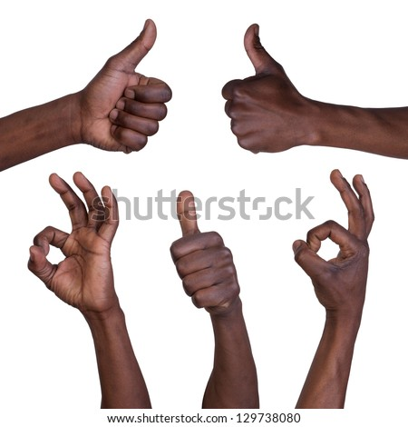 Thumbs up and okay gestures isolated on white background - stock photo