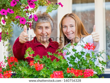 Thumbs up because everything is all right - stock photo