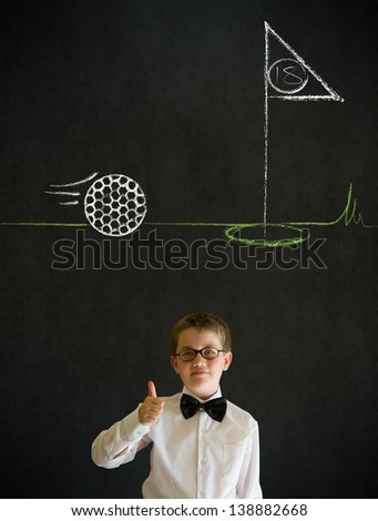 Thumbs up boy dressed up as business man with chalk golf ball flag green on blackboard background - stock photo