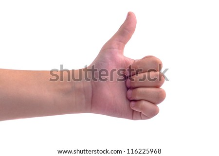 Thumbs up boy hand isolated on white background - stock photo