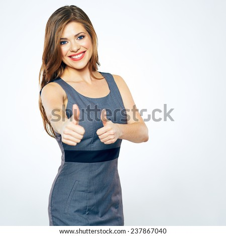 Thumbs Up. Business woman show thumbs. isolated portrait . beautiful smiling girl in business dress. - stock photo