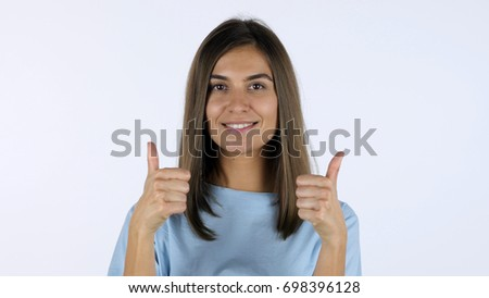Thumbs Up by Beautiful Girl, White Background in Studio