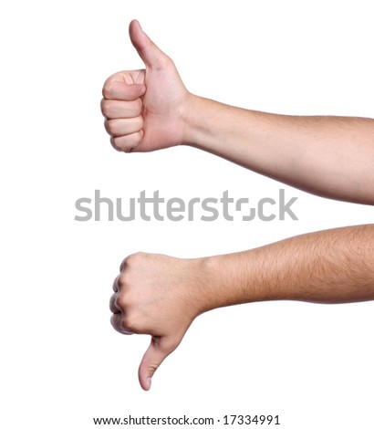 Thumbs up/down. Concept for agreement, positive, great, negative, bad, true, false - stock photo