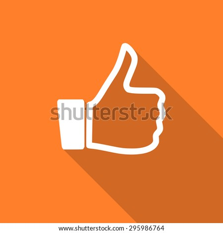 thumbs up flat design modern icon with long shadow for web and mobile app  - stock photo