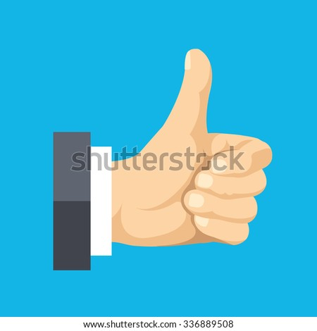 Thumbs up flat icon. Social network like concept. Modern flat design illustration isolated on blue background - stock photo
