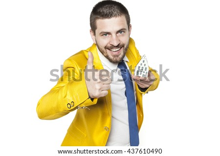 thumbs up for new apartment - stock photo