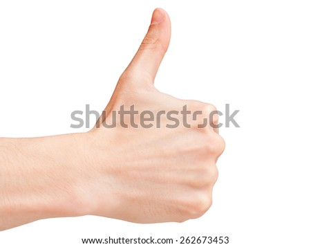 Thumbs up gesture of a male hand isolated on white.