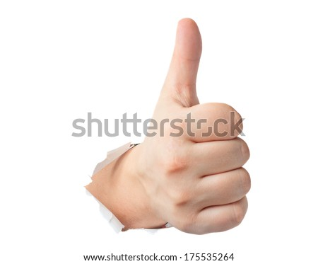 Thumbs up gesture showing through the paper isolated - stock photo