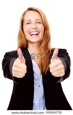 thumbs up hand gesture from a cheerful young businesswoman - stock photo