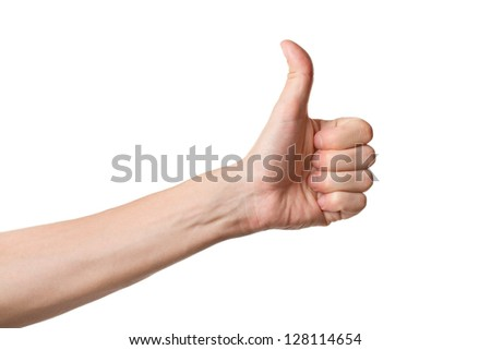 Thumbs up hand sign isolated on white background - stock photo