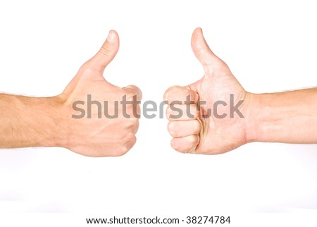 Thumbs up hand sign isolated on white background