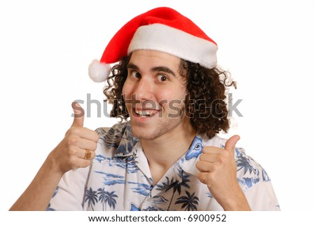 Thumbs up - happy santa guy in hawaian shirt