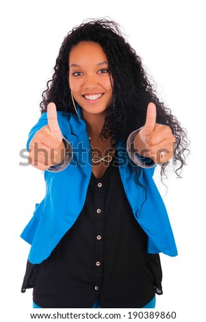 Thumbs up happy success for pretty young African American isolated - stock photo