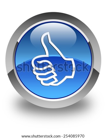 thumbs up icon glossy blue round button - stock photo