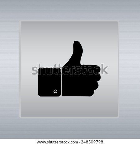 thumbs up icon on a silver background - stock photo