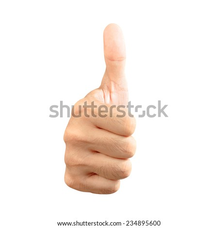 Thumbs up isolated on white background - stock photo