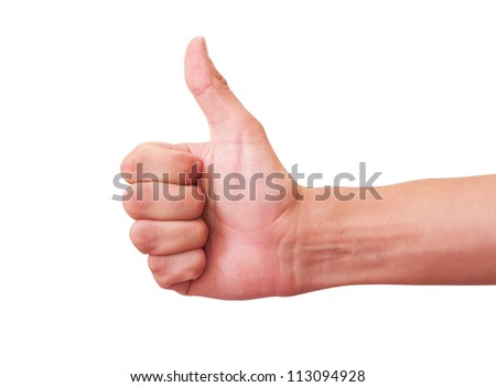 Thumbs Up. Isolated on white background with clipping path - stock photo