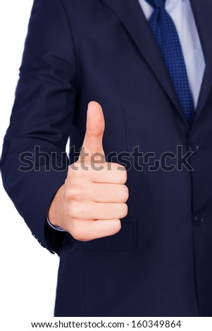thumbs up man suit isolated on white background