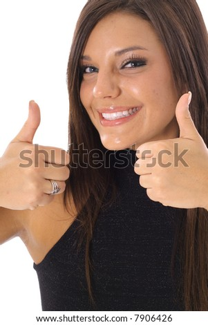 thumbs up model vertical side - stock photo
