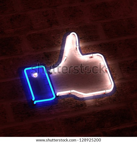 Thumbs Up Neon Sign - stock photo
