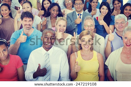 Thumbs Up People Diversity Multiethnic Group Concept - stock photo