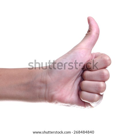 thumbs up sign against white background  - stock photo