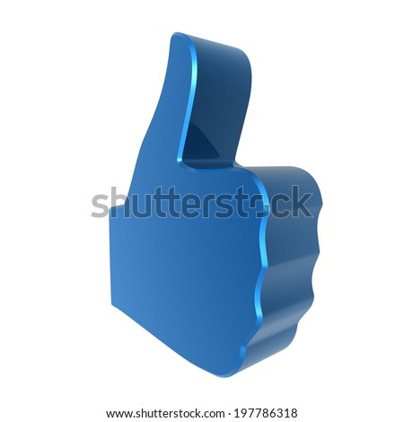 Thumbs up sign - red . 3d render. White background.  - stock photo