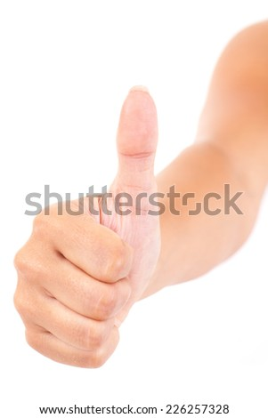 Thumbs up - slightly oblique - stock photo