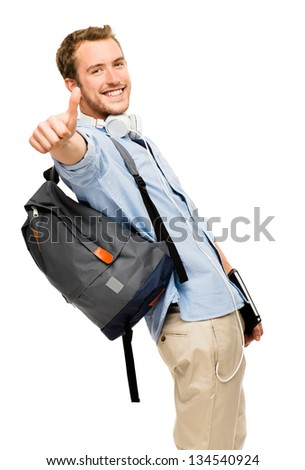 thumbs up student happy man - stock photo